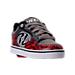 Three Quarter view of Boys' Preschool Heelys Motion Wheeled Skate Shoes in Black/Grey/Red