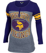 Women's New Era Minnesota Vikings College Long-Sleeve Henley Shirt