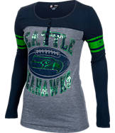 Women's New Era Seattle Seahawks NFL Long-Sleeve Henley Shirt