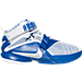 Right view of Boys' Grade School Nike LeBron Soldier 9 Basketball Shoes in White/Metallic Silver/Game Royal