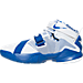 Left view of Boys' Grade School Nike LeBron Soldier 9 Basketball Shoes in White/Metallic Silver/Game Royal