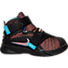 Right view of Boys' Toddler Nike Lebron Soldier 9 Basketball Shoes in Black/Hyper Orange/Blue Lagoon