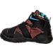 Left view of Boys' Toddler Nike Lebron Soldier 9 Basketball Shoes in Black/Hyper Orange/Blue Lagoon