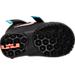 Bottom view of Boys' Toddler Nike Lebron Soldier 9 Basketball Shoes in Black/Hyper Orange/Blue Lagoon