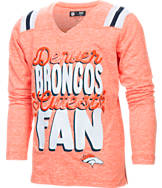 Kids' New Era Denver Broncos NFL Youth Throwback Long-Sleeve Glitter V-Neck T-Shirt