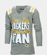 Kids' New Era Green Bay Packers NFL Youth Throwback Long-Sleeve Glitter V-Neck T-Shirt