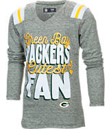 Kids' New Era Green Bay Packers NFL Youth Throwback Long-Sleeve Glitter V-Neck T-Shirt