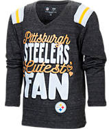 Kids' New Era Pittsburgh Steelers NFL Youth Throwback Long-Sleeve Glitter V-Neck T-Shirt
