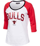 Women's New Era Chicago Bulls NBA 3/4 Raglan Sleeve Sequin T-Shirt