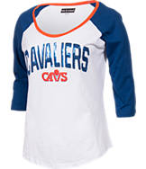Women's New Era Cleveland Cavaliers NBA 3/4 Raglan Sleeve Sequin T-Shirt