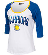 Women's New Era Golden State Warriors NBA 3/4 Raglan Sleeve Sequin T-Shirt