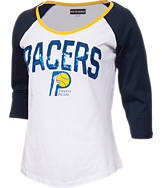 Women's New Era Indiana Pacers NBA 3/4 Raglan Sleeve Sequin T-Shirt