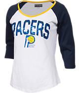 Women's New Era Indiana Pacers NBA 3/4 Raglan Sleeve Sequin T-Shirt