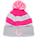 Front view of Women's New Era Indianapolis Colts NFL 2016 Breast Cancer Awareness Sport Knit Hat in Grey/Pink