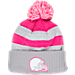 Front view of Women's New Era Cleveland Browns NFL 2016 Breast Cancer Awareness Sport Knit Hat in Grey/Pink