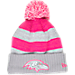 Front view of Women's New Era Baltimore Ravens NFL 2016 Breast Cancer Awareness Sport Knit Hat in Grey/Pink