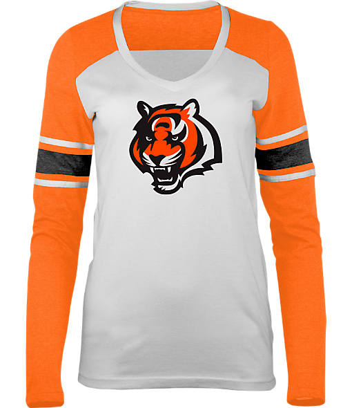 Women's New Era Cincinnati Bengals NFL Long-Sleeve Tri-Blend V-Neck
