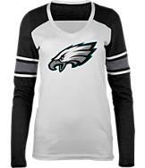 Women's New Era Philadelphia Eagles NFL Long-Sleeve Tri-Blend V-Neck