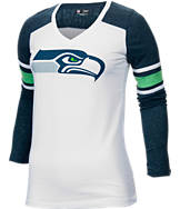Women's New Era Seattle Seahawks NFL Long-Sleeve Tri-Blend V-Neck