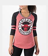 Women's New Era Chicago Bulls NBA Tri-Blend 3/4 Sleeve Scoop T-Shirt