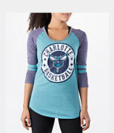 Women's New Era Charlotte Hornets NBA Tri-Blend 3/4 Sleeve Scoop T-Shirt
