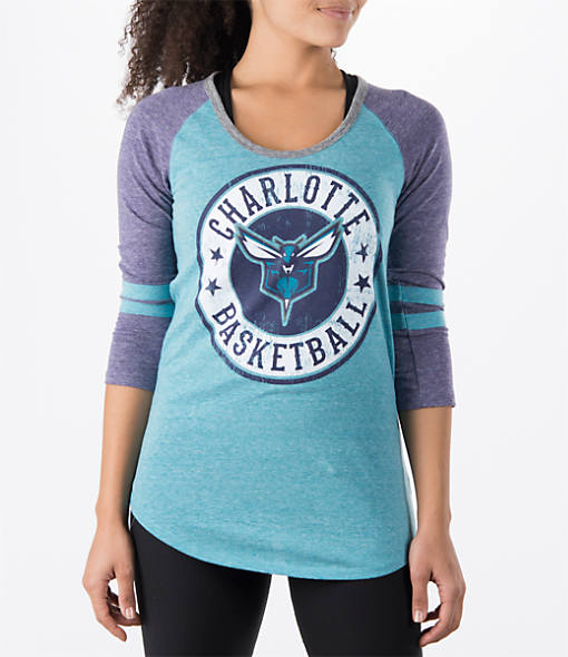 Women's New Era Charlotte Hornets NBA Tri-Blend 3/4 Sleeve Scoop T-Shirt