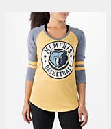 Women's New Era Memphis Grizzlies NBA Tri-Blend 3/4 Sleeve Scoop T-Shirt