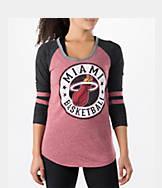 Women's New Era Miami Heat NBA Tri-Blend 3/4 Sleeve Scoop T-Shirt