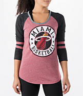 Women's New Era Miami Heat NBA Tri-Blend 3/4 Sleeve Scoop T-Shirt