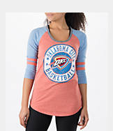 Women's New Era Oklahoma City Thunder NBA Tri-Blend 3/4 Sleeve Scoop T-Shirt