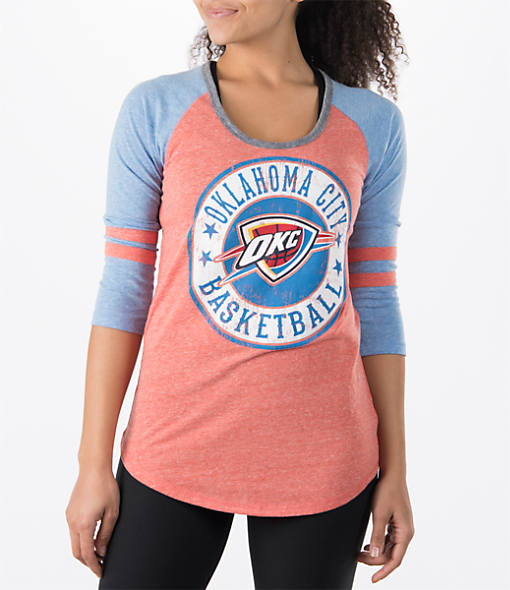 Women's New Era Oklahoma City Thunder NBA Tri-Blend 3/4 Sleeve Scoop T-Shirt