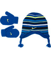 Boys' Toddler Nike Striped Beanie Hat and Mittens Set