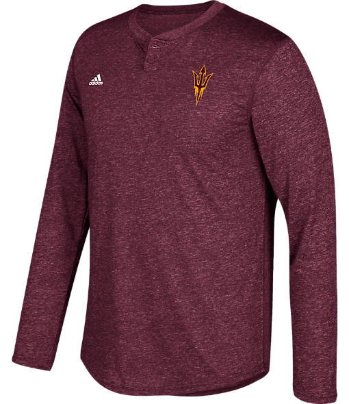 Men's adidas Arizona State Sun Devils College Long-Sleeve Henley Shirt
