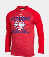 Men's adidas Detroit Pistons NBA Long-Sleeve Fade Away Hooded Shooter Shirt