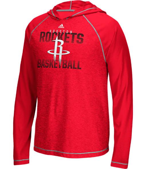 Men's adidas Houston Rockets NBA Long-Sleeve Fade Away Hooded Shooter Shirt