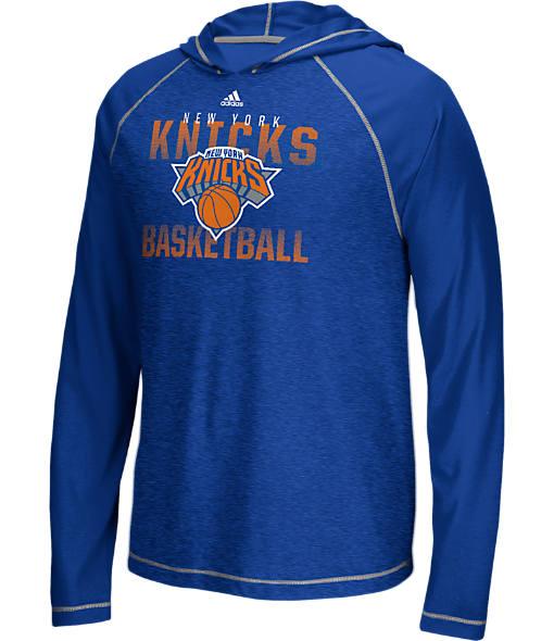 Men's adidas New York Knicks NBA Long-Sleeve Fade Away Hooded Shooter Shirt