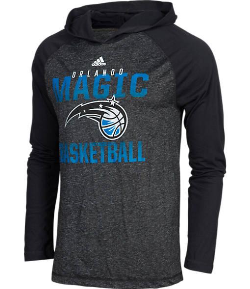 Men's adidas Orlando Magic NBA Long-Sleeve Fade Away Hooded Shooter Shirt