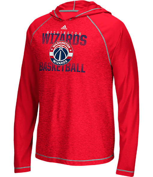 Men's adidas Washington Wizards NBA Long-Sleeve Fade Away Hooded Shooter Shirt