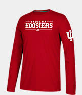 Men's adidas Indiana Hoosiers College Linear Bars Long-Sleeve T-Shirt