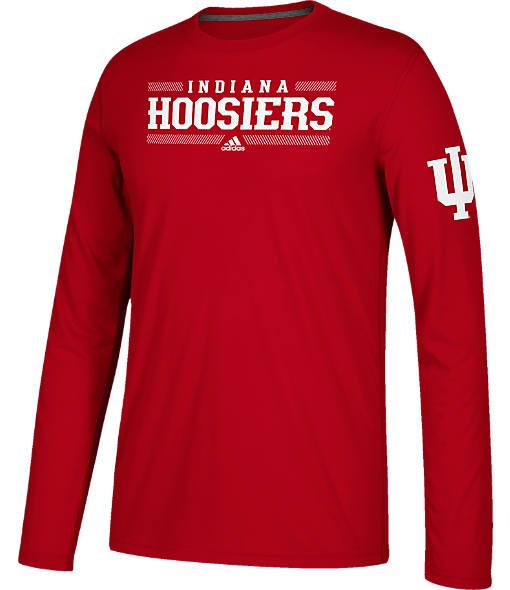 Men's adidas Indiana Hoosiers College Linear Bars Long-Sleeve T-Shirt