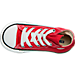 Top view of Kids' Toddler Converse Chuck Taylor Hi Casual Shoes in Red