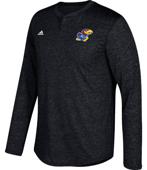 Men's adidas Kansas Jayhawks College Long-Sleeve Henley Shirt
