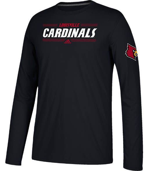Men's adidas Louisville Cardinals College Linear Bars Long-Sleeve T-Shirt