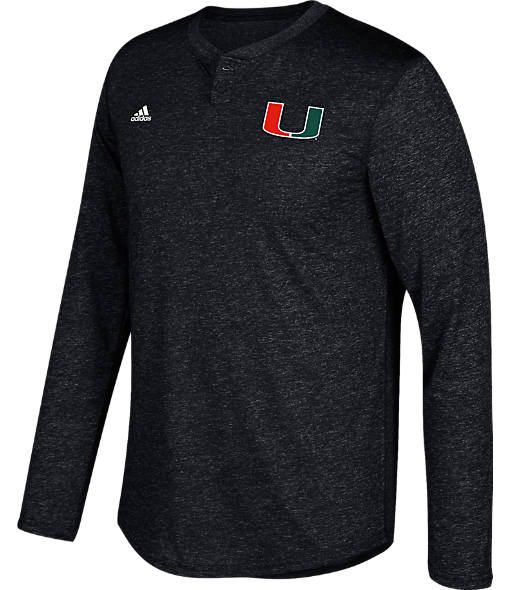 Men's adidas Miami Hurricanes College Long-Sleeve Henley Shirt