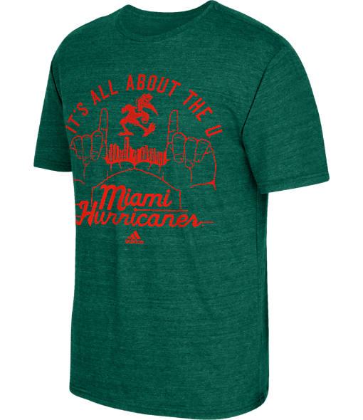 Men's adidas Miami Hurricanes College Traditional Tri-Blend T-Shirt