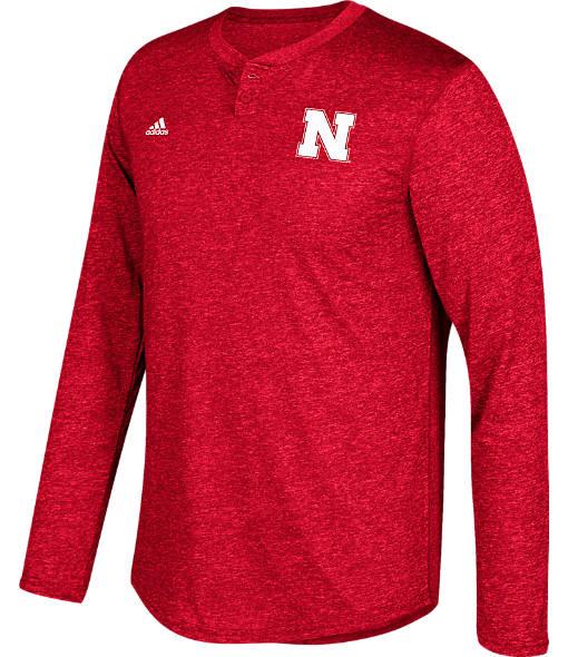 Men's adidas Nebraska Cornhuskers College Long-Sleeve Henley Shirt