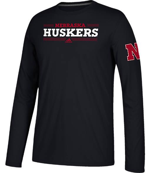 Men's adidas Nebraska Cornhuskers College Linear Bars Long-Sleeve T-Shirt