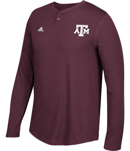Men's adidas Texas A&M Aggies College Long-Sleeve Henley Shirt
