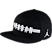 Front view of Jordan Air Stripe Snapback Hat in Black/White