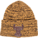 Front view of New Era Chicago Bulls NBA Tonal Trick Knit Hat in Tan/Brown